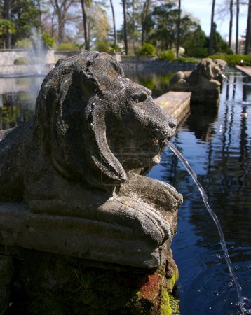 Photo for A line of stone lion fountains in a beautiful garden on a warm spring day - Royalty Free Image