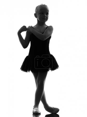 Photo for One little girl ballerina ballet dancer dancing in silhouette on white background - Royalty Free Image