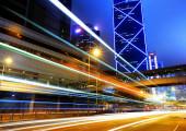 City traffic at night in Hong Kong