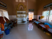 Interior of monk cell at Buddhist temple in Cambodia.