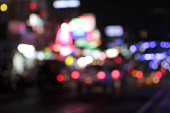 Pattaya city Road of blurry bokeh abstract background.
