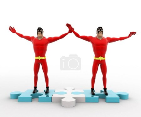 Photo for 3d superhero s happy and hands up standing on puzzle path concept on white background, front angle view - Royalty Free Image