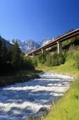 bridge over Dora Baltea river near Courmayeur, Aosta Valley, Italy