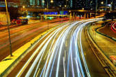 scenic view of beautiful cityscape of Highway at night