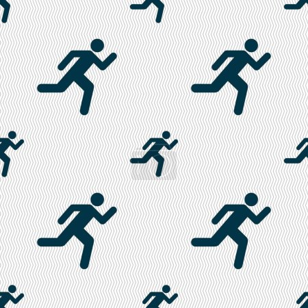 Photo for Running man icon sign. Seamless pattern with geometric texture. illustration - Royalty Free Image