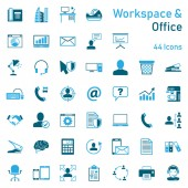 workspace office icon set (detailed vector file)