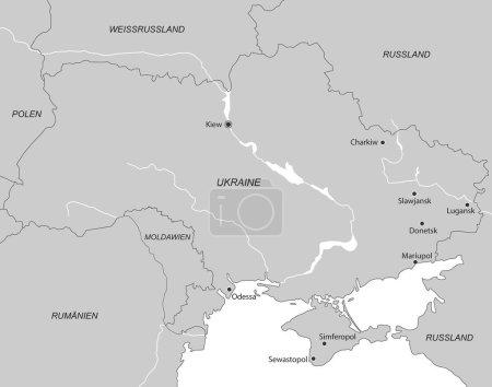 Karte der Ukraine - hoher detaillierter Vektor