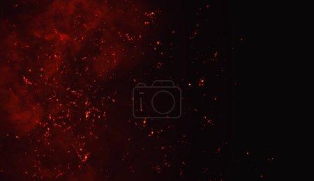 Photo pour Feu particules débris isolés sur fond noir pour le texte ou l'espace. Effet texture film . - image libre de droit