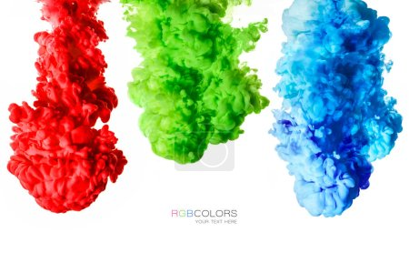 Photo for Colorful inks in water isolated on white background. Paint texture. Rainbow of colors - Royalty Free Image