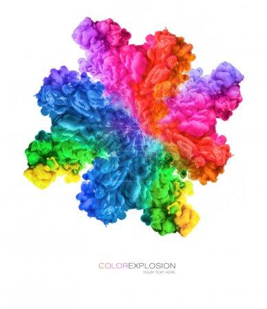 Photo pour Explosion de couleur. Arc-en-ciel de couleurs. Encre dans l'eau isolée sur fond blanc avec espace de copie pour le texte - image libre de droit