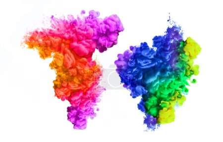 Photo for Ink in water isolated on white background. Rainbow of colors. Color explosion. - Royalty Free Image