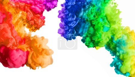 Photo for Ink in water isolated on white background. Rainbow of colors. Colors explosion. Colours festival. - Royalty Free Image