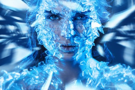 Female face covered with a lot small pieces of glass. Realistic visual effects made of silicone gel.