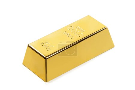 Fine gold bar isolated on white background