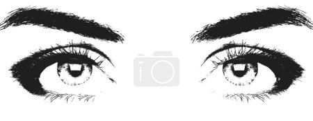 Female eyes with monochrome printing effect