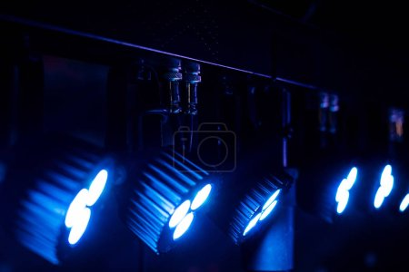Photo for Close up view of bright floodlights in darkness - Royalty Free Image