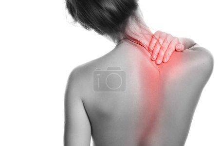 Woman with pain in her back and neck on white background