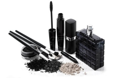 Different makeup and cosmetic products on white background