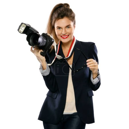 Photo for Woman photographer with a DSLR camera isolated on white background - Royalty Free Image