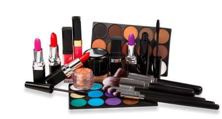 Photo for Set of different makeup objects on white background - Royalty Free Image