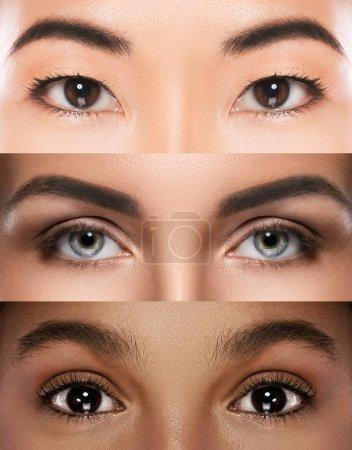 Photo pour Yeux féminins d'ethnicité différente - image libre de droit