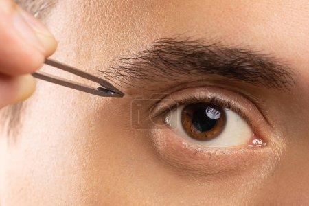 """Photo pour Gros plan de l """"œil masculin et de la pince à épiler pour corriger la forme des sourcils - image libre de droit"""