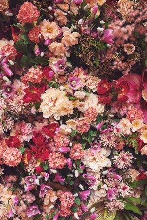 Photo pour Arrière-plan avec beaucoup de différentes belles fleurs aux couleurs pastel - image libre de droit