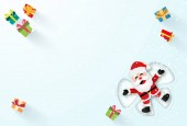 Origami paper art of Santa Claus laying on the snow and make a snow angel Merry Christmas and Happy New Year