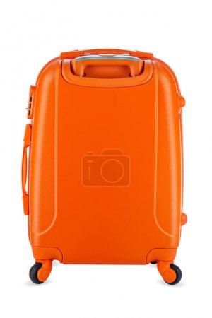 Photo pour Valise de voyage orange isolée sur fond blanc . - image libre de droit