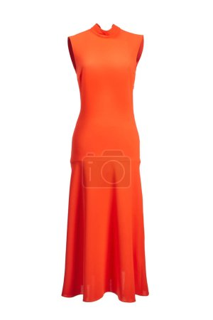Photo for Long form-fitting women's sleeveless dress made of bright orange polyester, isolated on a white background. - Royalty Free Image
