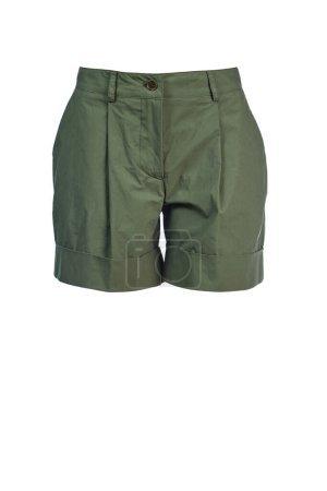 Photo for Short women's shorts made of military-colored cotton fabric with pinches. - Royalty Free Image