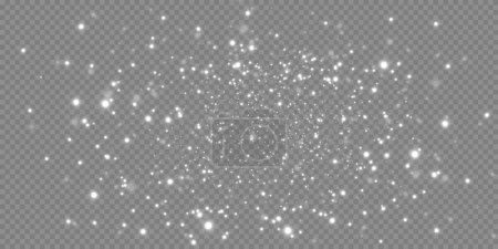 Illustration for Sparkling magic dust. On a textural white and black background. Celebration abstract background of light and silver glittering dust particles and stars. Magical effect. Festive vector illustration. - Royalty Free Image