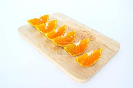 Orange slice fruit fresh on white background...