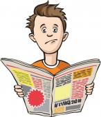 Vector illustration of depressed guy with newspaper Easy-edit layered vector EPS10 file scalable to any size without quality loss High resolution raster JPG file is included