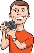 Vector illustration of Smiling photographer Easy-edit layered vector EPS10 file scalable to any size without quality loss High resolution raster JPG file is included