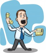 Vector illustration of Businessman answering telephone Easy-edit layered vector EPS10 file scalable to any size without quality loss High resolution raster JPG file is included