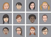 Vector illustration of Cartoon avatar various women faces Easy-edit layered vector EPS10 file scalable to any size without quality loss High resolution raster JPG file is included