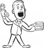 whiteboard drawing - businessman answering telephone