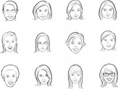 whiteboard drawing - cartoon avatar women faces