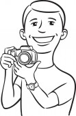 whiteboard drawing - smiling photographer