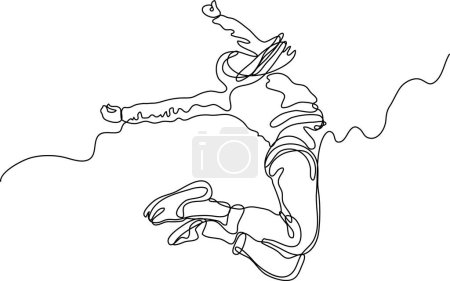 Illustration for Continuous line drawing of happy dancing woman - Royalty Free Image