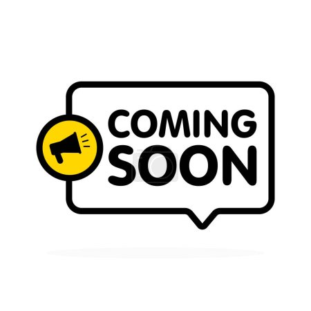 Coming soon sign with announcement megaphone. Vector flat illustration on white background