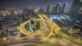 aerial view of dubai city at night
