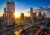 Beautiful sunset over modern cityscape