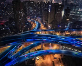 motion blur of traffic in night at dusk