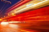 automobile traffic in motion at night road