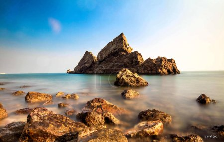 beautiful seascape with rocks and sea