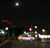 blurred night city lights, town with bokeh