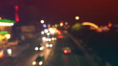 blurred view of city at night