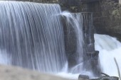 view of flowing waterfall, motion shot